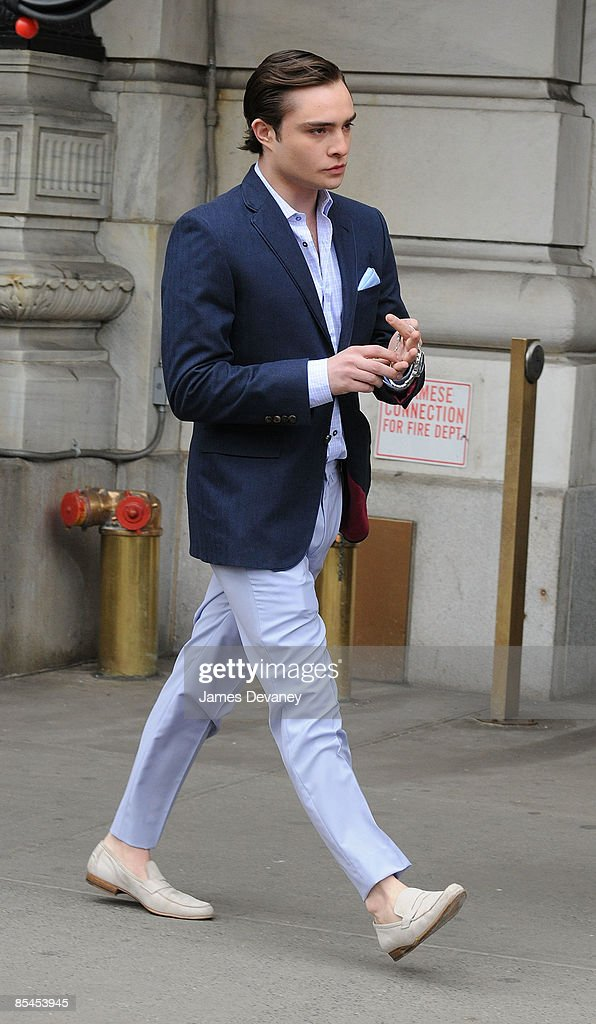 Ed Westwick films on location for 'Gossip Girl' on the streets of Manhattan on March 16, 2009 in New York City.