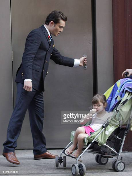 Ed Westwick is seen on the set of the TV show 'Gossip Girls' on location on the Streets of Manhattan on July 9 2009 in New York City