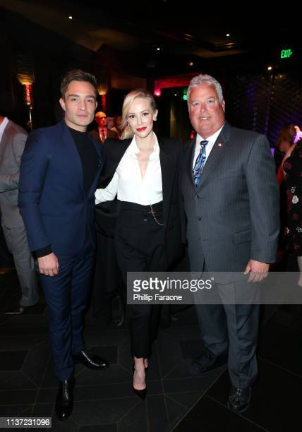 Ed Westwick, Louise Linton and Andy Doyle attend California Fire Foundation's 6th Annual Gala at Avalon on March 20, 2019 in Los Angeles, California.