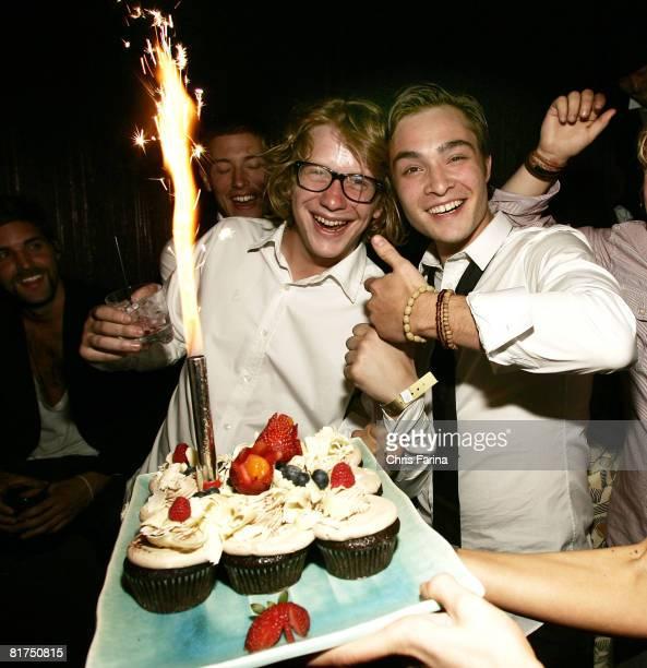 Ed Westwick of 'Gossip Girl' and friend celebrate his 21st Birthday at TAO Las Vegas on June 27 2008 in Las VegasNevada