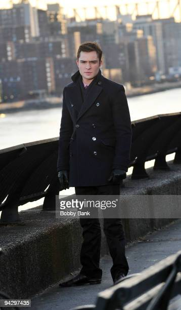 Ed Westwick on location for 'Gossip Girl' on Streets of Manhattan on December 11 2009 in New York City