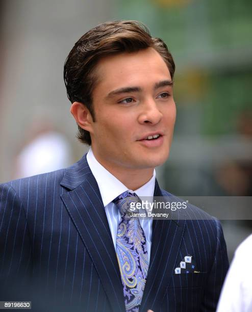 Ed Westwick on location for 'Gossip Girl' on the streets of Manhattan on July 22 2009 in New York City