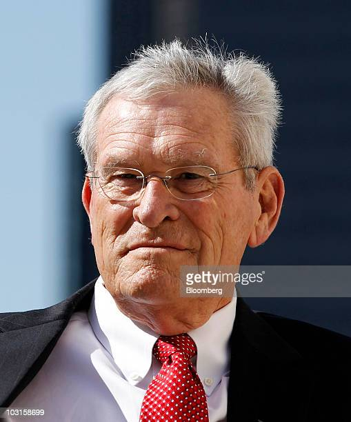Ed Whitacre, chairman and chief executive officer of General Motors Co., listens during an event in front of the Renaissance Center, home of General...