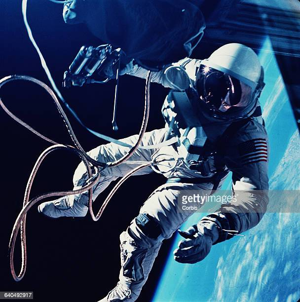 Ed White makes the first American spacewalk during Gemini 6 on June 3 1965 The walk lasted 20 minutes
