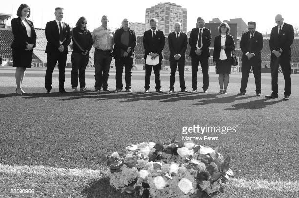 Ed Woodward Bryan Robson Mickey Thomas and members staff of Manchester United attend a ceremony to remember the victims of the Munich Air Disaster at...
