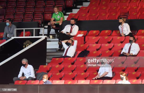 Ed Woodward, Chief Executive of Manchester United is seen in the stands while wearing a face mask during the Premier League match between Manchester...