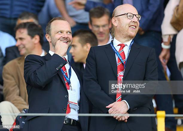 Ed Woodward, chief executive of Manchester United stands with owner Avram Glazer before the UEFA Champions League Qualifying Round Play Off Second...