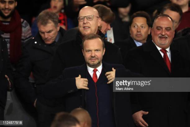 Ed Woodward Chief Executive of Manchester United with Co-owner Avram Glazer during the UEFA Champions League Round of 16 First Leg match between...