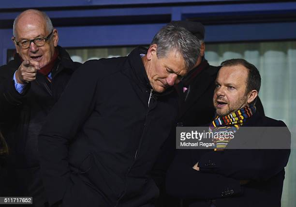 Ed Woodward executive vice-chairman of Manchester United and David Gill in discussion prior to the Emirates FA Cup fifth round match between...