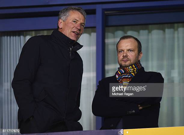 Ed Woodward executive vicechairman of Manchester United and David Gill in discussion prior to the Emirates FA Cup fifth round match between...