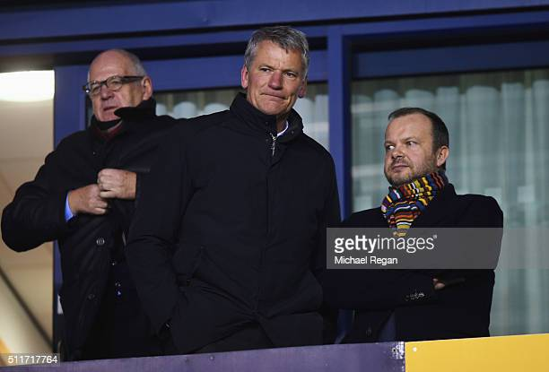 Ed Woodward executive vicechairman of Manchester United and David Gill look on prior to the Emirates FA Cup fifth round match between Shrewsbury Town...