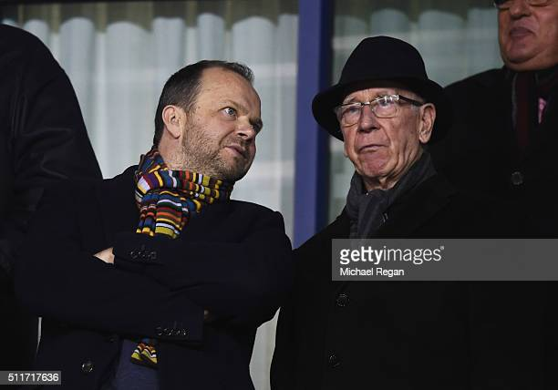 Ed Woodward executive vicechairman of Manchester United and Sir Bobby Charlton in discussion prior to the Emirates FA Cup fifth round match between...