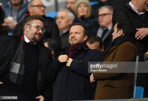 Ed Woodward executive vicechairman of Manchester United is seen in the crowd prior to the Carabao Cup Semi Final match between Manchester City and...