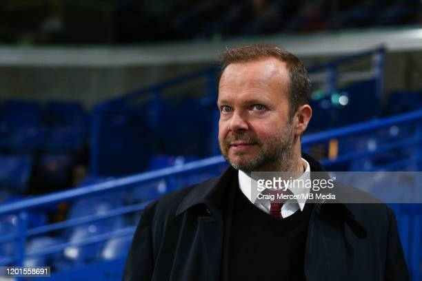 Ed Woodward executive vicechairman of Manchester United is seen the leaving the ground after the Premier League match between Chelsea FC and...