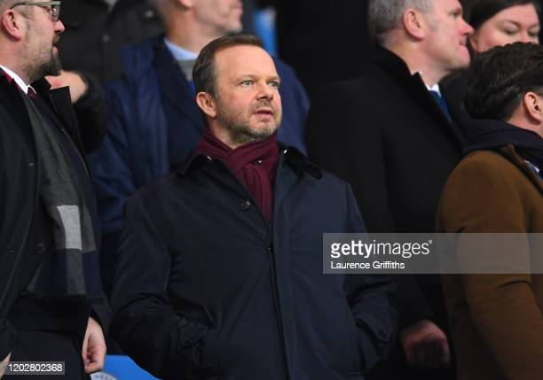 Ed Woodward executive vicechairman of Manchester United looks on from the crowd prior to the Carabao Cup Semi Final match between Manchester City and...
