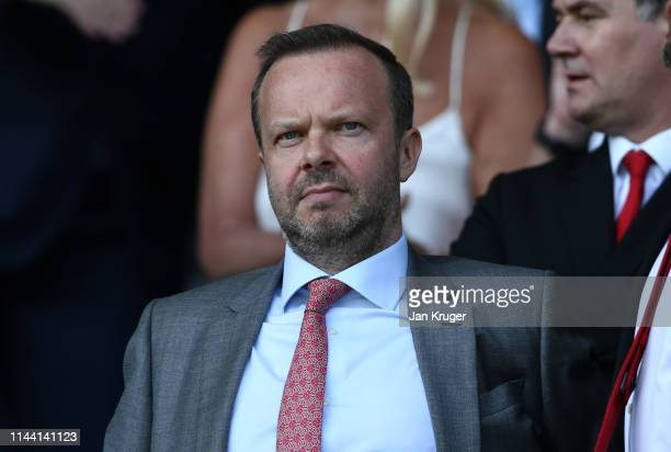 Ed Woodward executive vicechairman of Manchester United looks on prior to the Premier League match between Everton FC and Manchester United at...