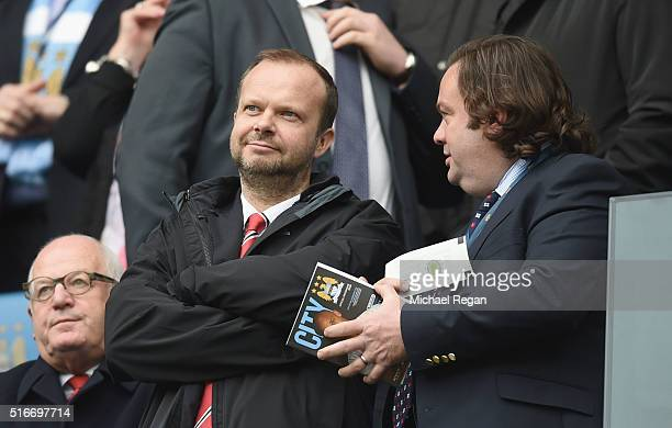 Ed Woodward executive vicechairman of Manchester United looks on prior to the Barclays Premier League match between Manchester City and Manchester...