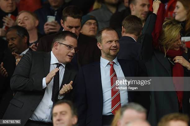 Ed Woodward executive vicechairman of Manchester United looks on prior to the Barclays Premier League match between Manchester United and Leicester...