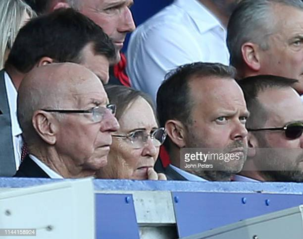 Ed Woodward of Manchester United watches from the director's box during the Premier League match between Everton FC and Manchester United at Goodison...