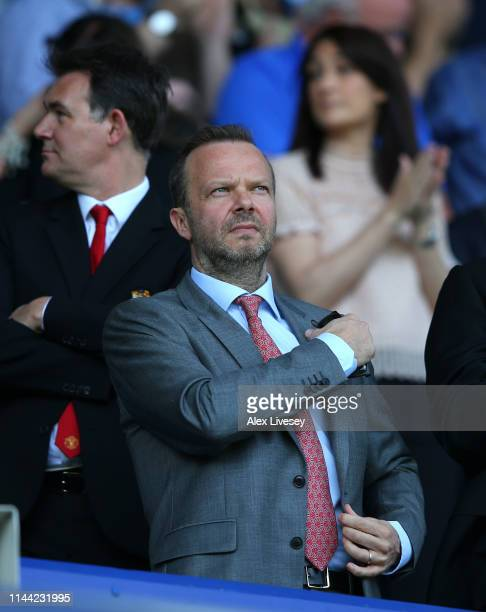 Ed Woodward the Chief Executive of Manchester United looks on from the stands prior to the Premier League match between Everton FC and Manchester...