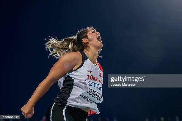 Eda Tugsuz from Turkey celebrates after winning a bronze medal Women's javelin throw during the IAAF World U20 Championships at the Zawisza Stadium...