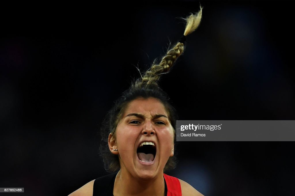 Eda Tugsuz of Turkey reacts as she competes in the Women's Javelin final during day five of the 16th IAAF World Athletics Championships London 2017 at The London Stadium on August 8, 2017 in London, United Kingdom.