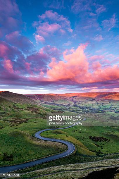 Edale twisty road at sunrise. English Peak District. UK. Europe.