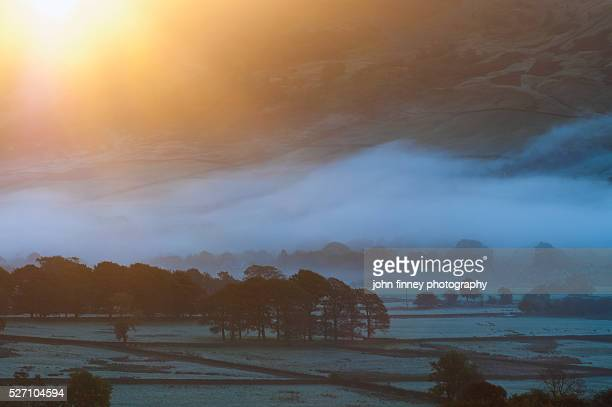 Edale valley sunrise with mist and frost. English Peak District. UK. Europe.