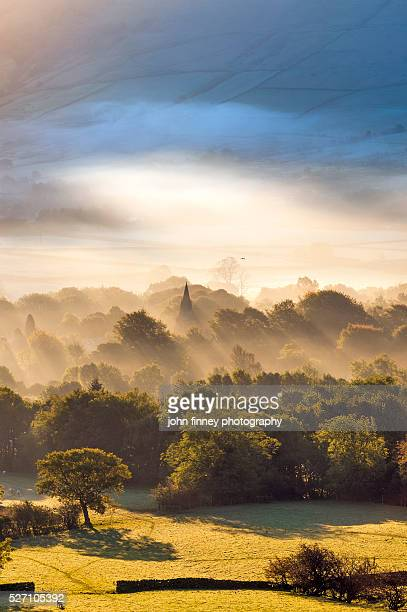 Edale village sunrise. English Peak District. UK. Europe.