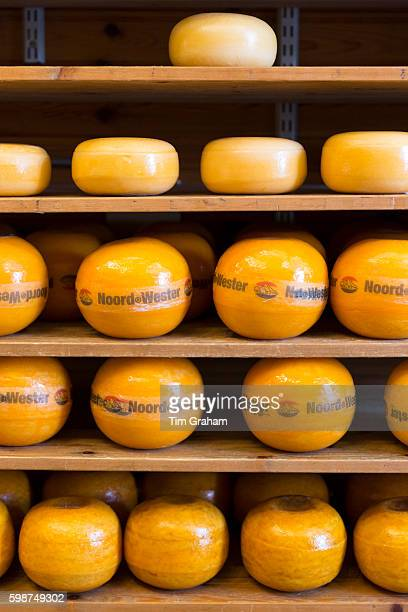 Edam cheese Noord Wester display on shelves in food store in the town of Edam The Netherlands