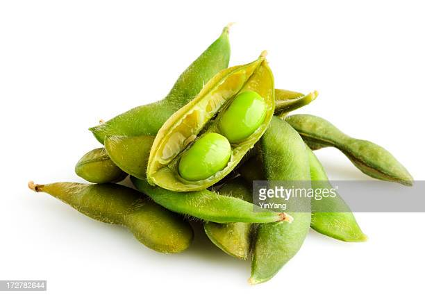 Edamame, a Soybean Legume Bean Vegetable Food, Isolated on White