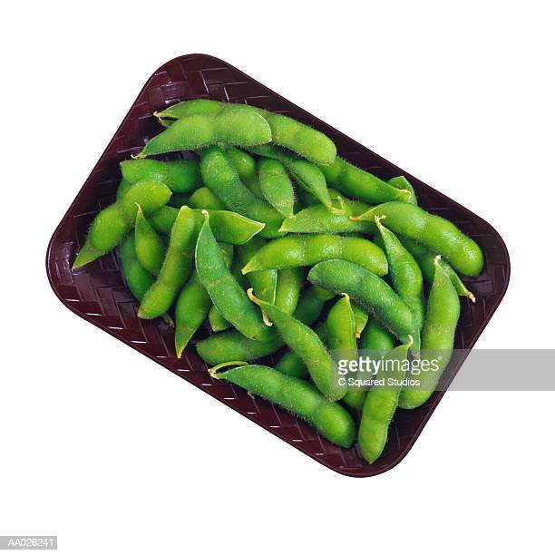 edamame in black container, close-up - edamame stock pictures, royalty-free photos & images