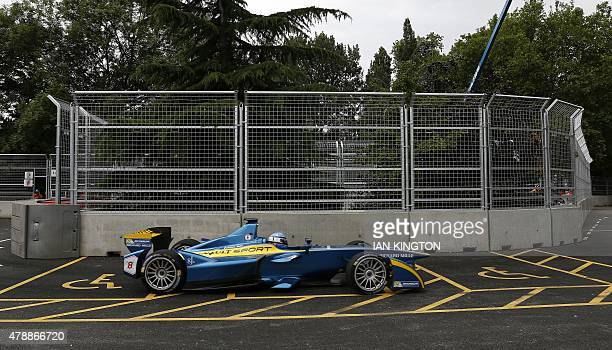 EDamsRenaults French driver Nicolas Prost drives in a nonqualifying practice at the the 2015 FIA Formula E London ePrix championship at Battersea...