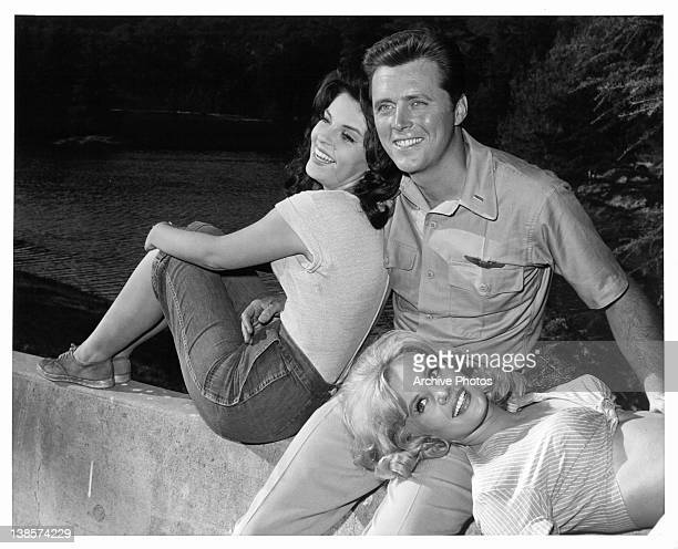 Edd Byrnes is the center of attention of Susan Seaforth and Pamela Austin in a scene from the television series 'Kissin' Cousins' circa 1965