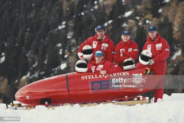 Edd Horler, Nick Phipps, Mark Tout and Dave Armstrong of the British Four man Bobsleigh team pose for a team picture with their sled on 1 January...