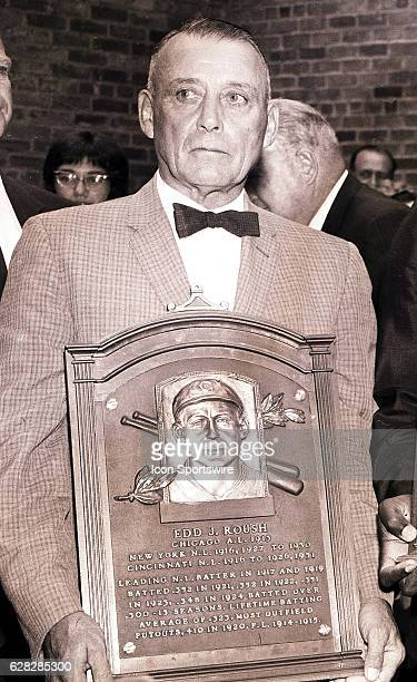 Edd J. Roush of the Cincinnati Reds during his Induction into the Baseball Hall of Fame in Cooperstown, New York. Edd J. Roush played in the infamous...