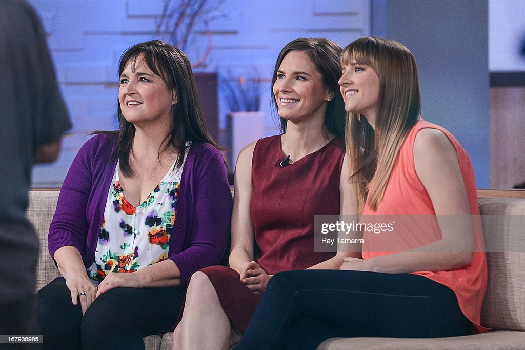 Edda Mellas, Amanda Knox, and Deanna Knox tape an interview at 'Good Morning America' at the ABC Times Square Studios on May 2, 2013 in New York City.