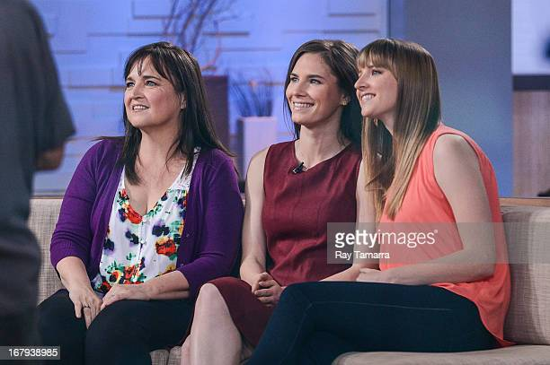 Edda Mellas Amanda Knox and Deanna Knox tape an interview at 'Good Morning America' at the ABC Times Square Studios on May 2 2013 in New York City