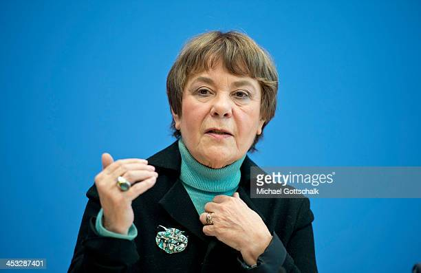Edda Mueller Chairwomen of NonGovermental Organization Transparency International Deutschland gestues during a press conference on November 3 2013 in...