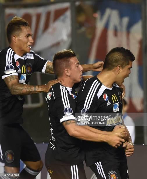 Edder Farias of Venezuela's Caracas celebrates after scoring against Paraguay's Cerro Porteno during their Copa Sudamericana football match at the...