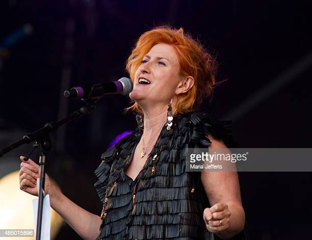 Eddi Reader of British Electric Foundation performs at Temple Island Meadows on August 23 2015 in HenleyonThames England