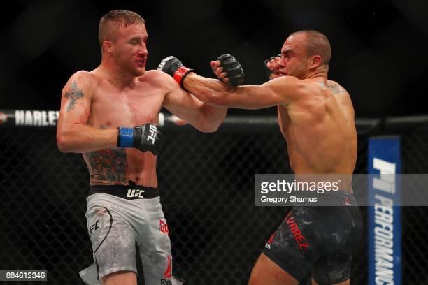 Eddie Alvarez battles Justin Gaethje during UFC 218 at Little Ceasars Arena on December 2 2018 in Detroit Michigan
