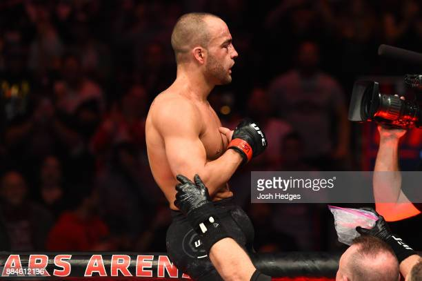 Eddie Alvarez celebrates after defeating Justin Gaethje in their lightweight bout during the UFC 218 event inside Little Caesars Arena on December 02...