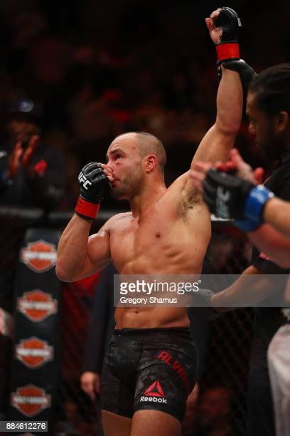 Eddie Alvarez celebrates his victory over Justin Gaethje during UFC 218 at Little Ceasars Arena on December 2 2018 in Detroit Michigan