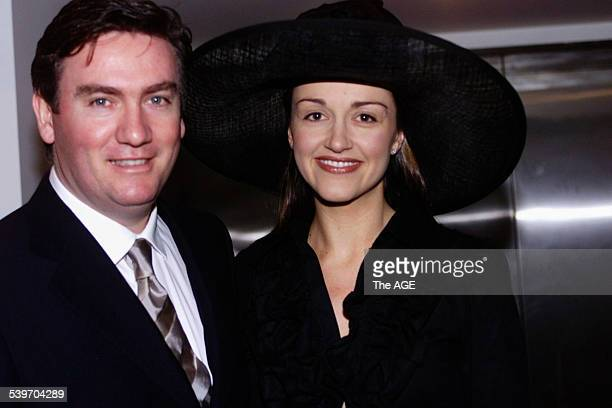 EDDIE MCGUIRE Eddie and Carla McGuire at Melbourne Cup Day 6 November 2001 THE AGE Picture by JOE ARMAO