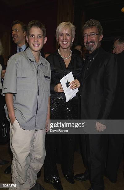 Eddie and Marie Jordan with their son at the CLIC Charity Auction hosted by Eddie and Marie Jordan at Christie's on 22nd October 2001 in London