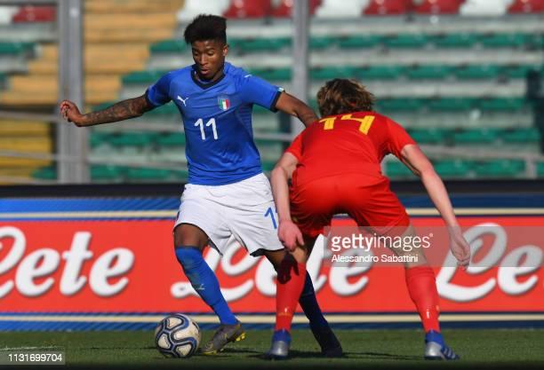 Eddie Anthony Salcedo Mora of Italy U19 controls the ball during the UEFA Elite Round match between Italy U19 and Belgium U19 at Stadio Euganeo on...