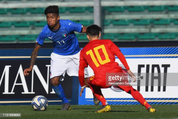 Eddie Anthony Salcedo Mora of Italy U19 in action during the UEFA Elite Round match between Italy U19 and Belgium U19 at Stadio Euganeo on March 20...