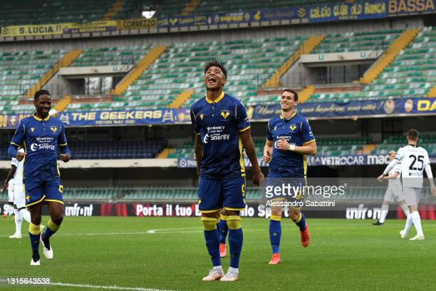 Eddie Anthony Salcedo of Hellas Verona celebrates after scoring their side's first goal during the Serie A match between Hellas Verona FC and Spezia...