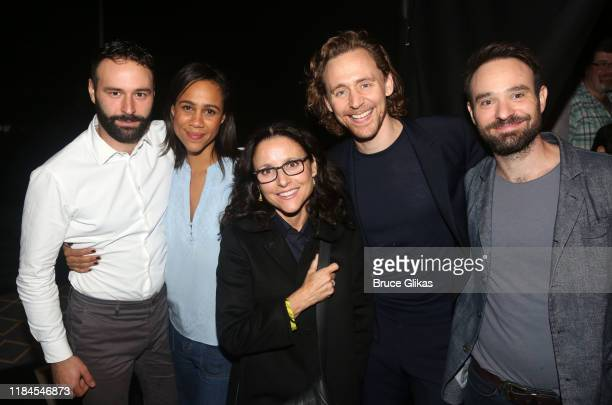 Eddie Arnold Zawe Ashton Julia LouisDreyfus Tom Hiddleston and Charlie Cox pose backstage at the hit play Betrayal on Broadway at The Bernard B...